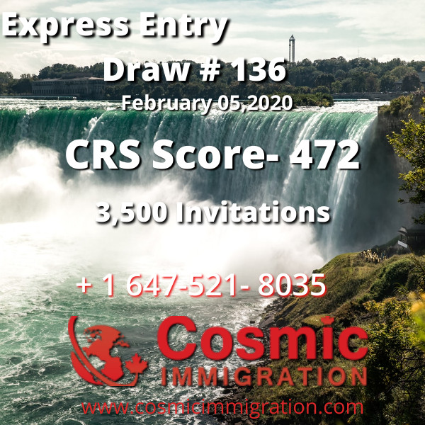 Express Entry Draw #136, CRS Score 472, 05 February,2020