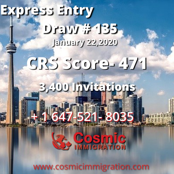Express Entry Draw #135, CRS Score 471, 22 January,2020